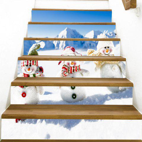 Three Snowmen Family Patterned Stair Stickers - BLUE/WHITE 100*18CM*6PCS