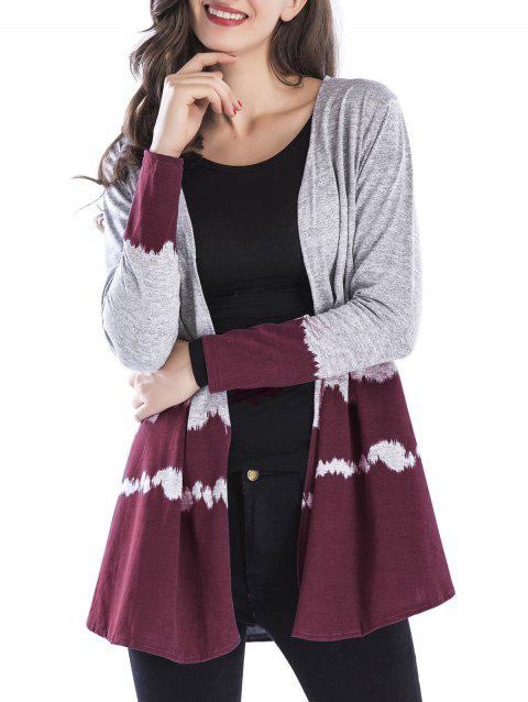 Open Front Two Tone Cardigan - WINE RED XL