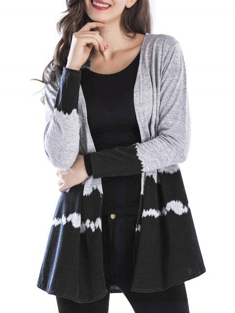 Open Front Two Tone Cardigan - BLACK XL