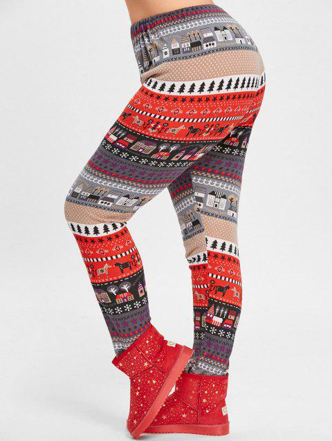 Christmas Tree House Jacquard Plus Size Leggings - RED 3XL