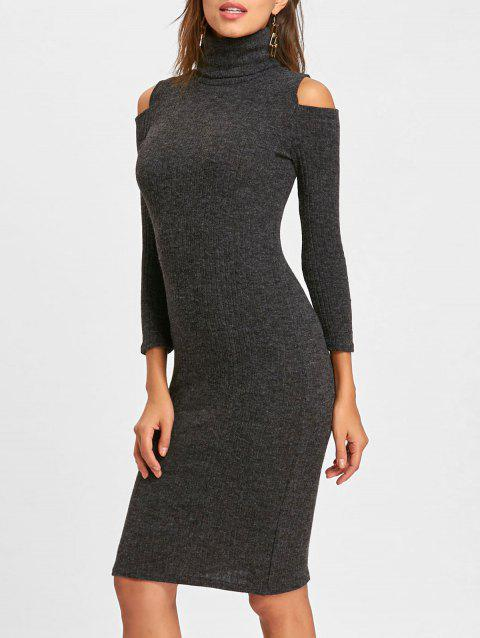 Midi Cold Shoulder Bodycon Sweater Dress - GRAY M