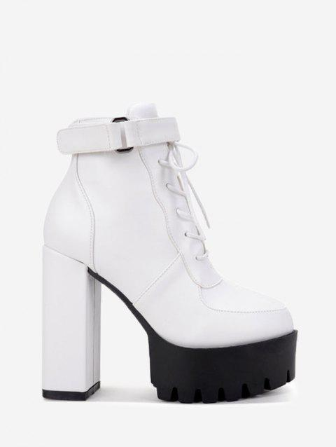 Hook and Loop Platform Ankle Boots - WHITE 35