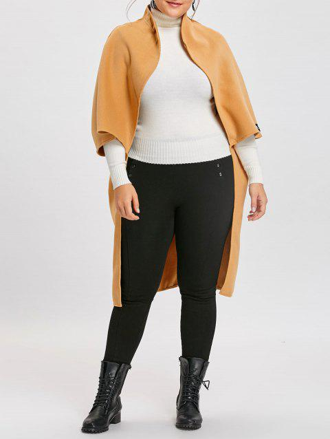 Batwing Sleeve Open Front Plus Size Coat - APRICOT 2XL