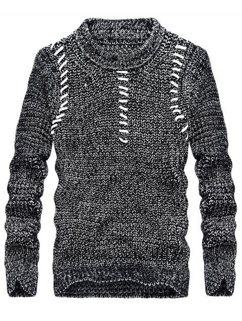 Jacquard Crew Neck Pullover Sweater - DEEP GRAY 2XL