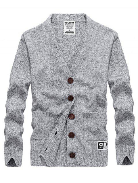 Button Up Cashmere V Neck Cardigan - LIGHT GRAY M