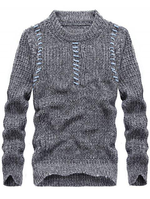 Jacquard Crew Neck Pullover Sweater - LIGHT GRAY 3XL