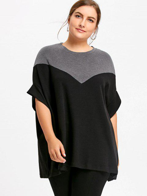 Two Tone Plus Size Dolman Sleeve Boyfriend Sweater - BLACK ONE SIZE