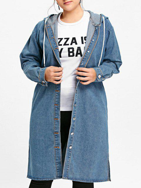 Plus Size Long Button Up Hooded Denim Coat - BLUE 5XL