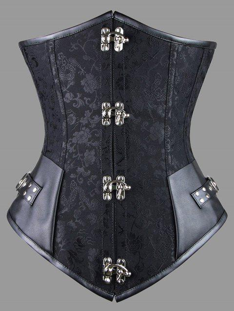 e3f0d17fe 17% OFF  2019 Plus Size Faux Leather Panel Lace-up Corset In BLACK ...