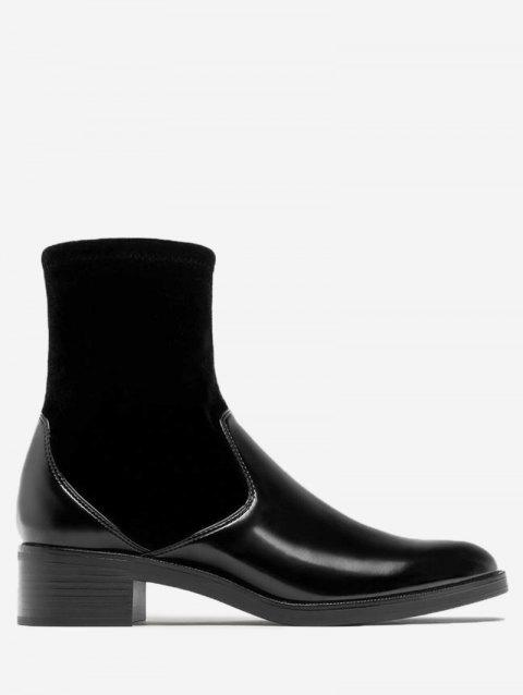 Almond Toe Velvet Panel Ankle Boots - BLACK 35