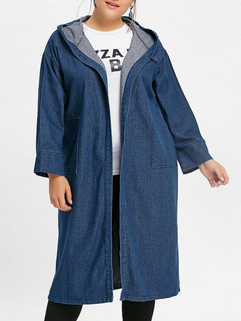 Plus Size Long Hooded Jean Coat with Pocket - DENIM BLUE 2XL