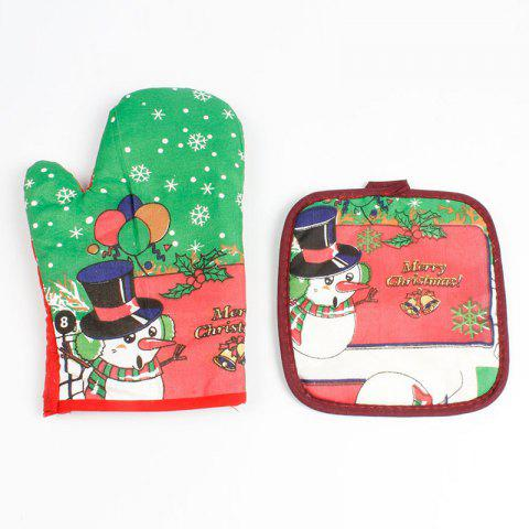 Christmas Snowman Pattern Oven Mitts - GREEN