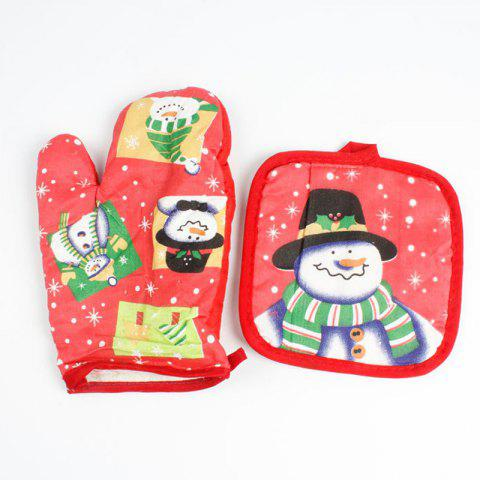 christmas snowman pattern oven mitts red