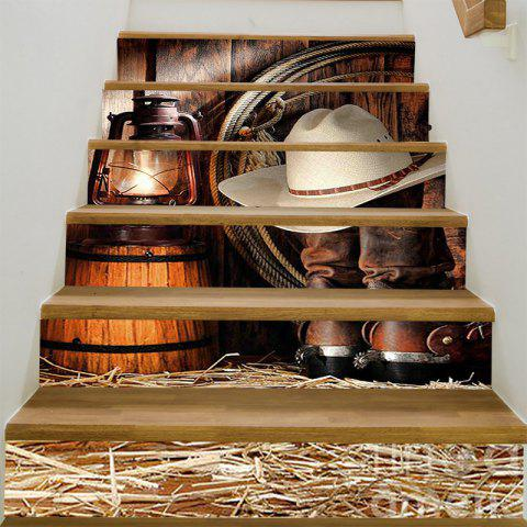 West Cowboy Cap And Shoes Printed Stair Stickers - BROWN 100*18CM*6PCS