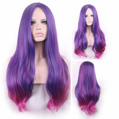 Long Center Parting Straight Colormix Synthetic Party Wig - FUCHSIA ROSE