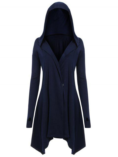f547b6bfddaad 41% OFF  2018 Lace Up Back Plus Size Asymmetric Hoodie In BLUE 3XL ...