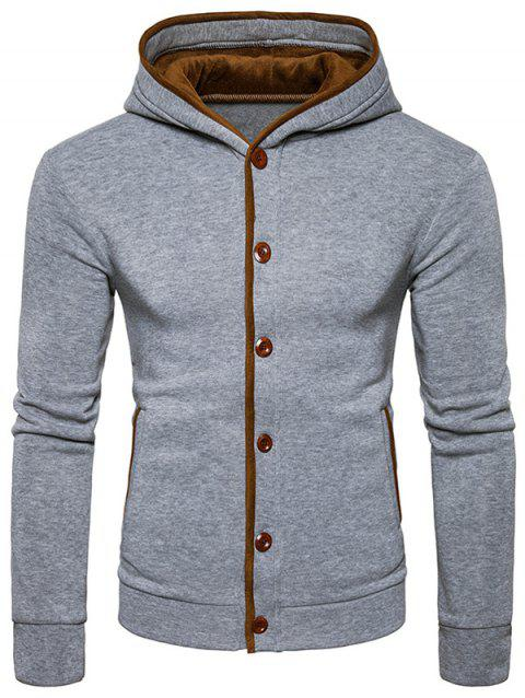 Suede Panel Elbow Patch Button Up Hoodie - LIGHT GRAY M