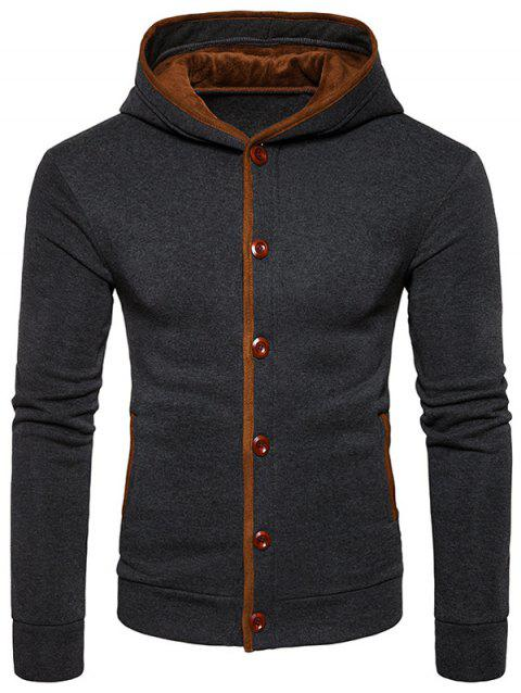 Suede Panel Elbow Patch Button Up Hoodie - DEEP GRAY M