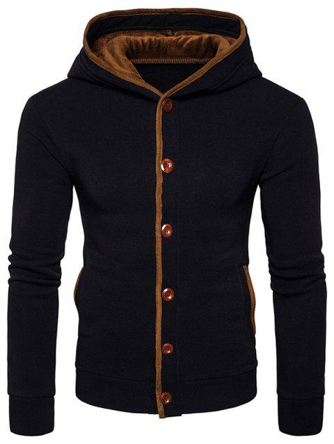 Suede Panel Elbow Patch Button Up Hoodie - BLACK M