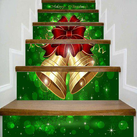 Merry Christmas Bells Printed Home Decor DIY Stair Stickers - GREEN 100*18CM*6PCS