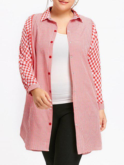 Plus Size Long Plaid Tunic Shirt - RED 4XL