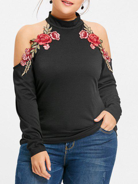 Cold Shoulder Floral Embroidered Plus Size T-shirt - BLACK XL