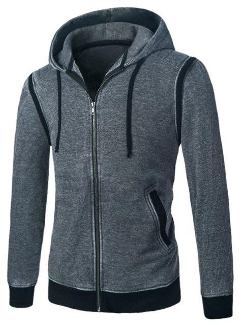 Panel Design Fleece Zip Up Hoodie - GRAY S