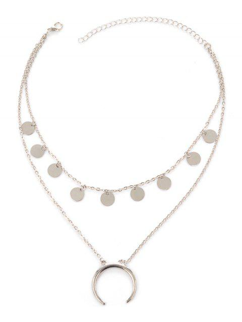 Collier Tribal Moon Disc Layered - Argent
