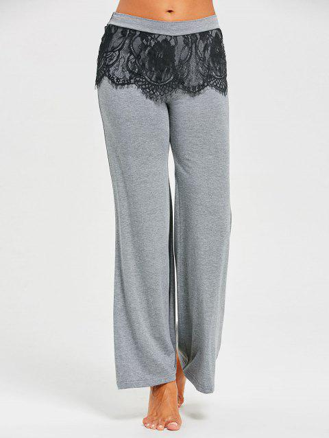 Pantalon Palazzo à Superposition en Dentelle - Gris M