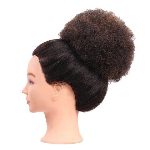 Short Curly Synthetic Cozy Hair Bun Ponytail Wig - DEEP BROWN