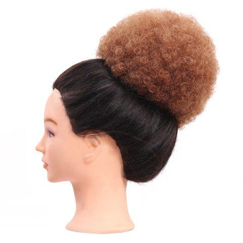 Short Curly Synthetic Cozy Hair Bun Ponytail Wig - RED BROWN