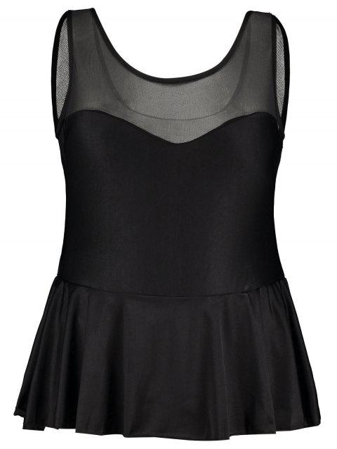 Mesh Panel Ruffle Plus Size Swimsuit - BLACK 2XL