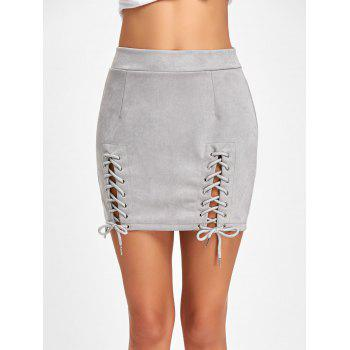 Faux Suede Lace Up Mini Skirt - GRAY GRAY
