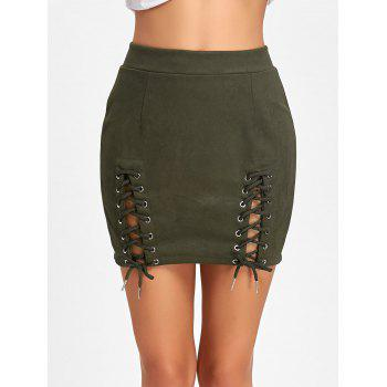 Faux Suede Lace Up Mini Skirt - ARMY GREEN ARMY GREEN