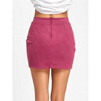 Faux Suede Lace Up Mini Skirt - PEACH RED L