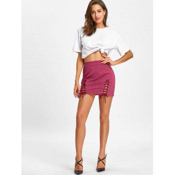 Faux Suede Lace Up Mini Skirt - PEACH RED M