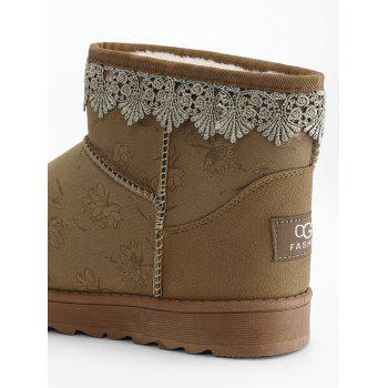 Suede Floral Print Lacework Trim Ankle Boots - YELLOW 39