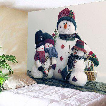 Snowman Family Printed Waterproof Wall Art Tapestry - COLORMIX W79 INCH * L79 INCH