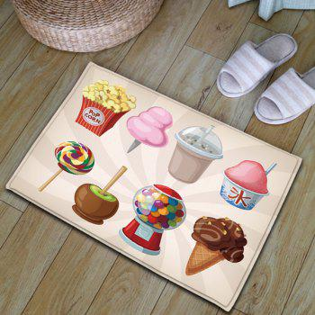 Sweet Food Print Skidproof Flannel Bath Rug - COLORMIX W20 INCH * L31.5 INCH