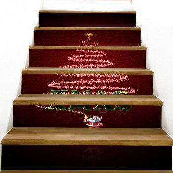 Christmas Santa Star Pattern Stair Stickers - COLORFUL 100*18CM*6PCS