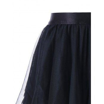Asymmetrical Layered Tulle Skirt - BLACK BLACK