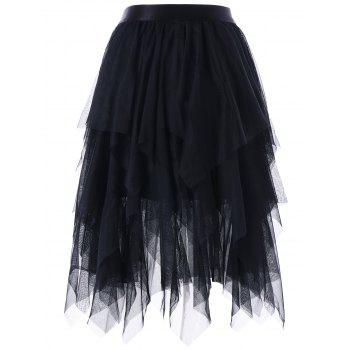 Asymmetrical Layered Tulle Skirt - BLACK XL