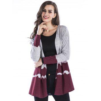 Open Front Two Tone Cardigan - WINE RED 2XL