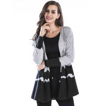 Open Front Two Tone Cardigan - BLACK L