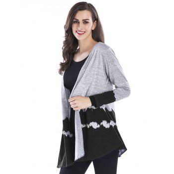 Open Front Two Tone Cardigan - BLACK M
