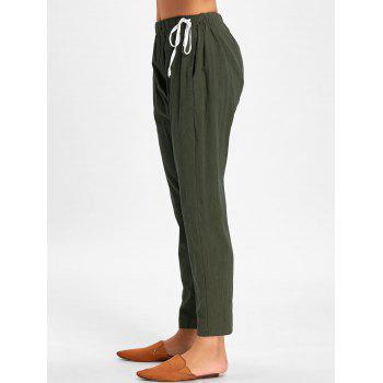 Elastic Waist Side Drawstring Pants - ARMY GREEN XL