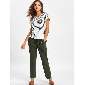Elastic Waist Side Drawstring Pants - ARMY GREEN ARMY GREEN