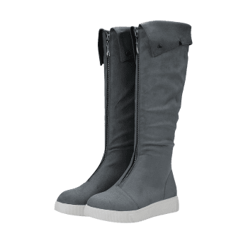 Hidden Wedge Zip Front Mid Calf Boots - GRAY 38