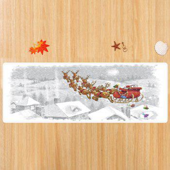 Christmas Snata Sleigh Pattern Anti-skid Indoor Outdoor Area Rug - WHITE W16 INCH * L47 INCH