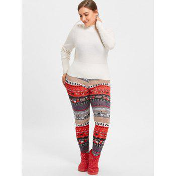 Christmas Tree House Jacquard Plus Size Leggings - RED RED